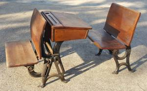 A set of antique school desk and chairs, wood top, cast iron frame (NW Cy Fair) for sale  Austin