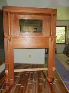 Oak Mantle With Beveled Mirror (NW), used for sale