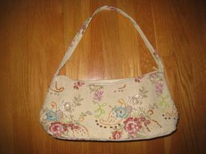 Used, Attractive Fabric Handbag with Beading, Embroidery, Single Strap, Zip (Berlin, MA) for sale