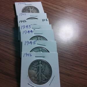 Used, Walking Liberty silver Half dollars aka Walkers (N Olmsted) for sale