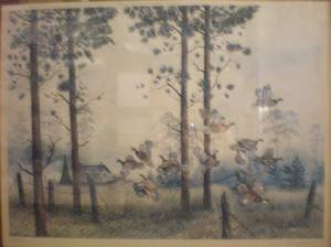 Used, Guaranteed old genuine huge Hunting Duck lithograph w/ old Certificate (Santa Ana) for sale