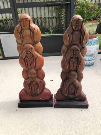 Pair wooden see no evil hear no evil speak no evil - furniture - by...