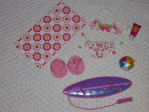 Large Build a Bear beach lot: swimsuit, towel, surfboard, ball etc. (New Westminster - Victoria Hill) for sale  Seattle