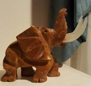 Used, Vintage Elephant Hand Carved Stone with Quartz Tusks Mexico (West Houston) for sale  Austin