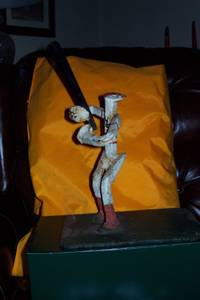 Baseball Art/Statue made of Handcrafted, Recycled, Railroad Spikes (Durham/RTP) for sale