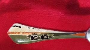 Vintage 747 Qantas Australia Airlines Plane Silver Spoon Enamel handle (Tacoma) for sale  Seattle