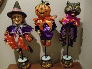 Halloween Decorations Table Top Brand New Pumpkin, Cat, and Witch (Set for sale