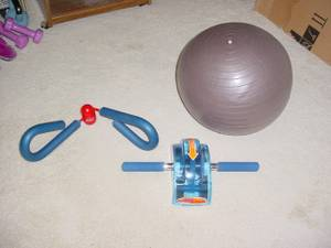 Thighmaster, Ab Roller, Exercise Ball and Cushion Mat (Fraser), used for sale  Detroit