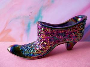 Used, Vintage Smith Glass Daisy and Button Iridescent Amethyst Glass Shoe (Frankford Ave., Baltimore) for sale