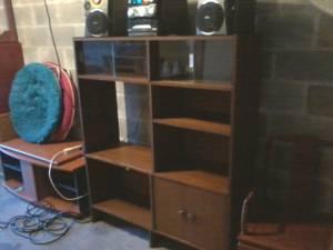 Mid Century Modern Vintage Teak Shelving Wall Unit, TV Stands (Largo) for sale
