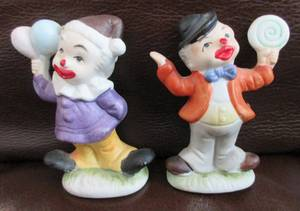 Vintage Miniature Ceramic Clowns  {{A PAIR}} (114th and Pacific - Omaha) for sale