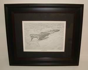 Used, Vietnam Era Framed F 4 Phantom Aircraft Artist Drawn Picture. (Goldsboro, NC) for sale