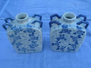 PAIR of CHINESE BLUE and WHITE PORCELAIN BOTTLE VASES (Lancaster) for sale
