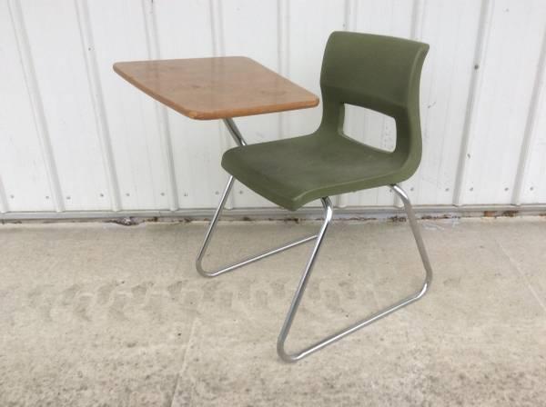 Vintage metal wood plastic school desk & chair - furniture - by...