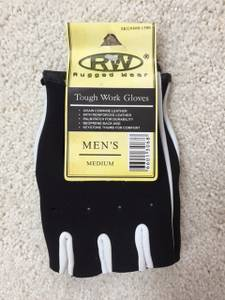 NEW Rugged Wear Men's Leather Fingerless Tough Work Gloves size Medium (South of Eau Claire) for sale
