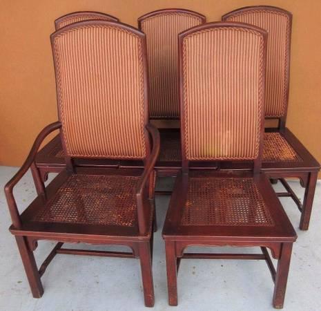 (5) henredon asian collection cane upholstered mahogany dining...