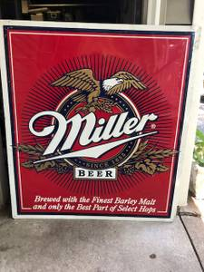 """Large 36"""" x 40"""" Metal Miller Beer Sign (Lakeville) for sale"""