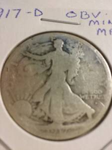 1917d Walking Liberty silver half dollar w Obv. mint mark (N Olmsted), used for sale