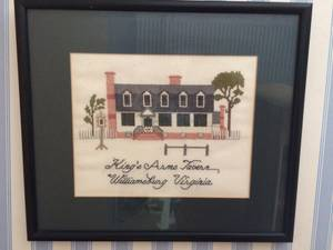 Framed Needlepoint of King's Arms Tavern---Williamsburg (Whispering Pines) $25