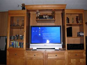 Used, *High End Oak Entertainment Center Console TV Stand** (Parma) for sale