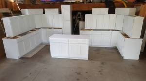 Used, New White Shaker Kitchen Wood Cabinets & Bathroom Vanity Cupboards! (Plywood Box, Soft Closing, Solid Wood Doors) for sale