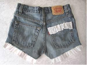 """Used, Cut off Levi Shorts - """"Daisy Dukes"""" with White Eyelet Lace Trim. (Tarzana, CA) for sale"""