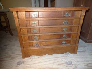Used, Oak and Chestnut Willimantic Spool Cabinet (NW Raleigh) for sale
