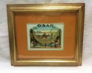 ANTIQUE CIGAR BOX LABEL ** MATTED and FRAMED with GLASS ** O'SAN BRAND (downtown / civic / van ness), used for sale