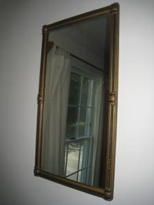 Antique Rectangular Wood Framed Wall Mirror w Braided Carvings Pillars (Berlin, MA) for sale