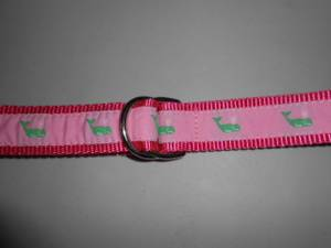 Womens Pink Green Whale Preppy D Ring Belt L Large Eliza B Leather Man (Hadley) for sale  Boston