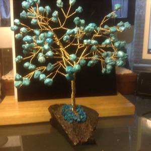 Used, Vintage Brass Wire Turquoise Stones Sculptured Healing Tree Mid Centur (Vancouver) for sale  Vancouver