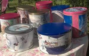 LARGE Canister TINS-STACKABLE;STORAGE,CRAFTS,FABRICS,Dry FOODS,Dog,Cat (NORTH BRANCH) for sale