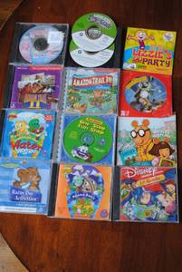 Lot 13 Disney, Barbie, Children CD Games Educational Activities cases (Weddington), used for sale