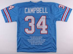 Earl Campbell Signed Oilers Career Highlight Stat Jersey (Port Wentworth), used for sale