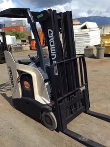 NARROW AISLE REACH ELECTRIC STAND UP FORKLIFT (Port Coquitlam) for sale