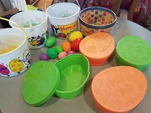 EASTER Decor: Basket Buckets Green&OrangeContainers Grass Eggs $10 ALL (Plymouth) for sale