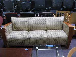 Used, Arcadia Solana Sofa. Light Beige Pattern Fabric.Cherry Wood Arm & Legs (San Francisco Bay Area) for sale