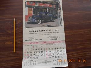 1986 DeVOE'S Auto Parts Calender (studio city) for sale