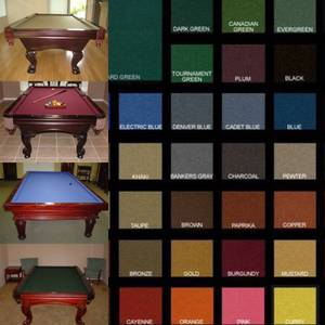 Pool Table Felt, Billiard Cloth, Refelting, Recushioning, Pockets (alamo square / nopa) for sale