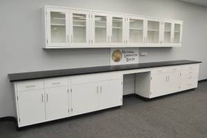 18' Base 13' Upper Laboratory Furniture Cabinets Case Work Benches (Fargo) for sale
