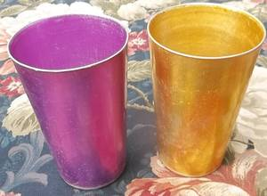 2 Vintage Bascal Aluminum Drinking Glasses;Purple & Gold;Made in Italy (NORTH BRANCH) for sale