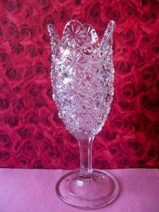 Vintage Daisy Button Tulip Top Elson Glass Bouquet Vase #88 (Frankford Ave., Baltimore) for sale
