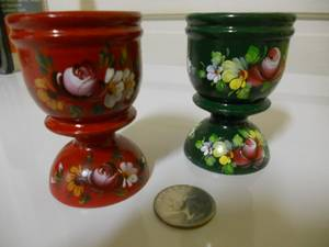 Russian Hand Painted Wooden Chalice Decorative Cups (Phillipsburg NJ) $5