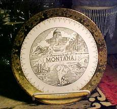 "MONTANA STATE SOUVENIR PLATE-SABIN;CREST-O-GOLD;9¼""-Gold Border&Im (NORTH BRANCH) for sale"