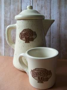Jack Daniels Tenn. Mud Stoneware Coffee Pot and Mug (Frankford Ave., Baltimore) for sale