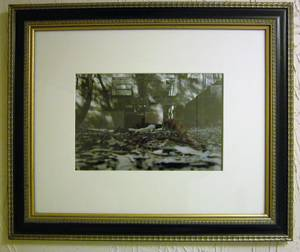 MACABRE B&W PHOTOGRAPH ** DEAD AT STRUCTURE ** MATTED & FRAMED (downtown / civic / van ness) for sale