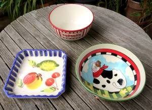 Used, GLAZED CERAMIC POTTERY BOWLS (mill valley) for sale