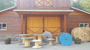 wooden cable spools spool reels lots of sizes (marysville) for sale