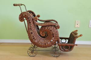 Victorian style wicker doll/baby carriage buggy trolley stroller pram (sunnyvale) for sale