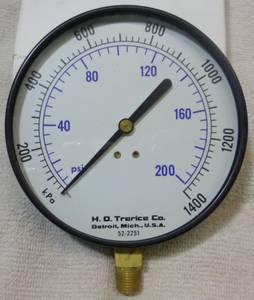 Trerice 200 psi 4-1/2 Pressure Gauge (Warren), used for sale